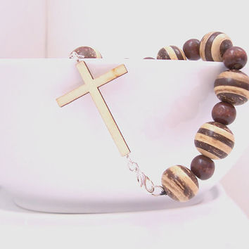 Wooden Cross Bracelet, Christian Jewelry, Wood Bracelet, Christian Bracelet, Wooden Bracelet, Wood Beads, Spiritual Jewelry, Wood Cross