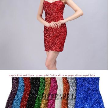 Gold Green Purple White Silver Sleeveless Sparkly Short glitter sequin club wear mini party Dress for Women junior
