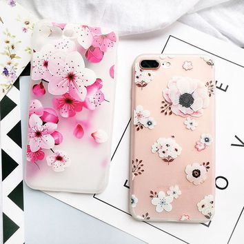 For iPhone X 7 6s 8 Plus Cute Flower Pattern Clear TPU Soft Silicone Case Cover