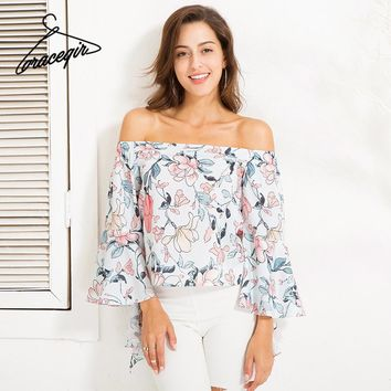 Women Tops Series Autumn Fashion Floral Print Butterfly Sleeve Off Shoulder Blouse Shirts