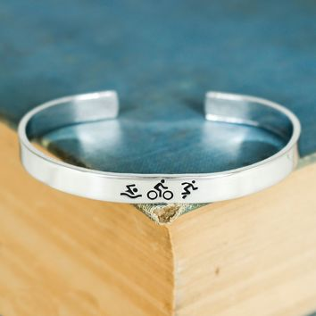 Swim, Bike, Run Bracelet - Triathlete Gift - Triathlon Aluminum Bracelet
