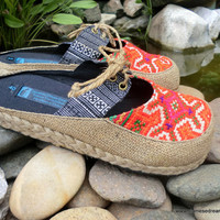 Womens Shoes Hmong Embroidered And Batik Vegan Slides 9