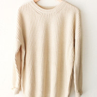 Oversized Knit Sweater - Cream