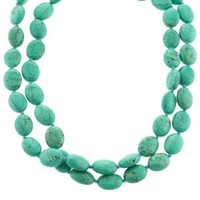 """Sterling Silver Simulated Turquoise-Colored Howlite Double-Strand Necklace,17.5"""""""