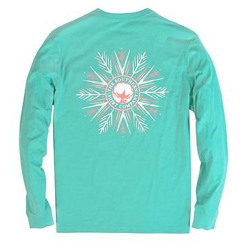 Frosty Snowflake Long Sleeve Tee Shirt in Cockatoo by The Southern Shirt Co. - FINAL SALE