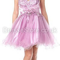 A-line Sweetheart Tulle Satin Short/Mini Lilac Appliques Prom Dress at dressestore.co.uk