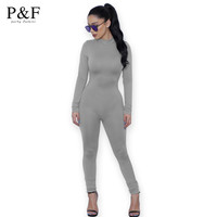 Tight Bodysuit Sexy Overalls Night Club Rompers Womens Jumpsuit Playsuit Bodycon Jumpsuit Macacao woman 2016 long Sleeve gray