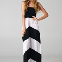 Black and White Strapless Chevron Maxi Dress