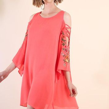 Floral Embroidered Angel Sleeve Dress