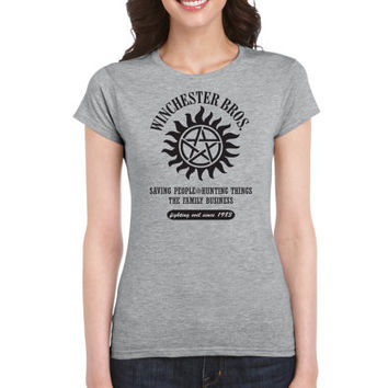 SUPERNATURAL WINCHESTER BROS. Men's Fitted T-Shirt Sam and Dean Winchester Brothers