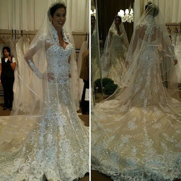 2017 Chapel Train High Neck Mermaid Wedding Dress Glittering Lace Appliques Muslim Wedding Dresses China Robe De Mariage