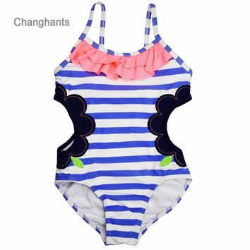 Baby One Piece Girls Swimwear  Light Blue Striped with Hollowing Design 1-14Y Kids Swimsuit Children Swimming wear sw0607 UPF