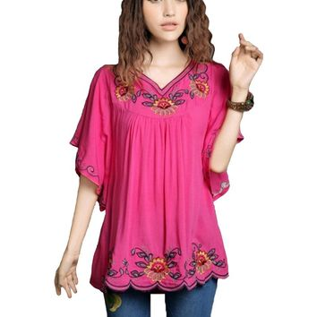 2018 New Hot vintage 70s mexican Ethnic Floral Hippie Women blouses / shirt Female Clothing Tops Tunic Long Sleeve TT141
