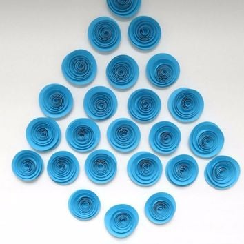 Aqua Blue Paper Flowers Large Lot of 24 Set of Roses for Boy Baby Nursery Bridal Shower Decor Wedding Reception Decorations Birthday 1.5""