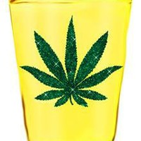 Pot Leaf Shot Glass in Fun & Games Drinking Glassware Shooters