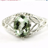 Christmas Sale, 30% off, SR137, Green Amethyst, 925 Sterling Silver Ring