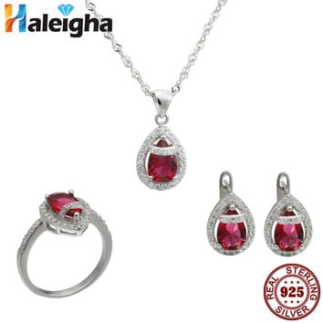 Fashion Blue Wedding Jewelry Set for Brides Bridesmaid Prom Party solid 925 sterling silver cherry necklace Haleigha Created Gem