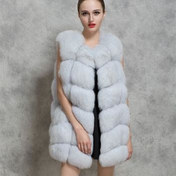 2017 winter Vest lady faux fox fur vest coat for women imitation fox hair vest Artificial fur women's mink coat female plus size