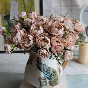 1 Bouquet European Pretty Wedding Party Mini Peony Silk Artificial Flower Bride Bouquet For Home Wedding Decoration