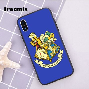 Iretmis s Harry Potter Hogwarts Crest Funny soft silicon Phone Cover Case For iPhone 7 X 6 6s Plus 8 8 plus 5 5s SE 5cKawaii Pokemon go  AT_89_9