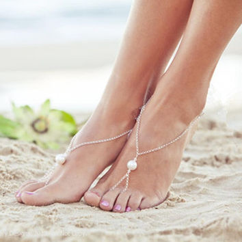 Ladies New Arrival Stylish Jewelry Cute Shiny Sexy Gift Summer Beach Simple Design Strong Character Pearls Accessory Anklet [8527530695]