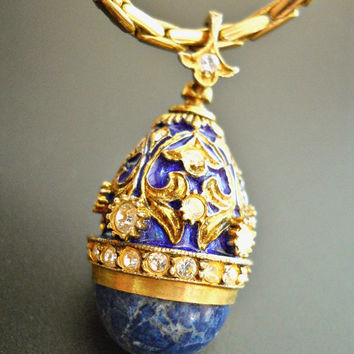 Easter Egg Pendant Necklace Lapis Fabergé Inspired Rhinestones Vintage Gold Tone