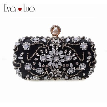 JZX12  DHL Free Shipping Black Beading Crystal Evening Bags Clutch Bag Women Clutches Lady Wedding bag Handbag Purse