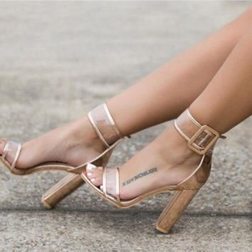Women Fashion Lacquer Leather Transparent Rough Heel Sandals Heels Shoes