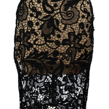 Cocktail Chic Lace Pencil Skirt - Black