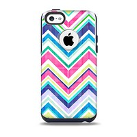 The Vibrant Pink & Blue Layered Chevron Pattern Skin for the iPhone 5c OtterBox Commuter Case