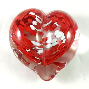 Handmade Art Glass Heart Paperweight, Red and White, Mother's Day Gift