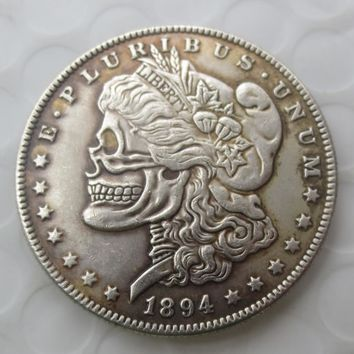 US Head-To-Head Two Face 1894O Morgan Dollar skull zombie skeleton hand carved Copy Coins