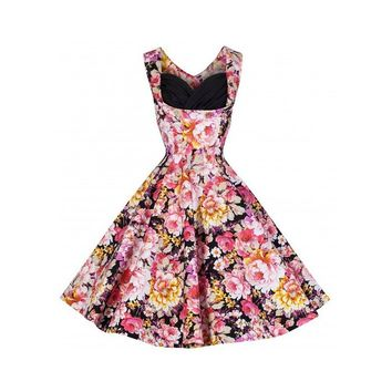 Amstt Party dresses for Women Vintage 50's Floral Picnic Swing Cocktail dress