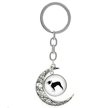 Cute pet dog lover moon pendant keychain Boston Terrier dog animal key chain leisure old books Atheist key ring men women T309