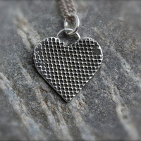 Silver Mesh Heart. love. heart necklace. sterling silver Mesh design on Heart. Heart pendant. Rock star heart. textured. Oxidized. OOAK