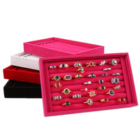 New Fashion Jewelry Display Velvet Slots Earrings Rings Tray Organizer Storage Holder Case Box 4 Colors ping