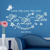 bob Marley Room Wall Sticker/Home Decoration Poster/paster TV Background Wall butterfly and Vine Home Decor living room DIY PVC SM6