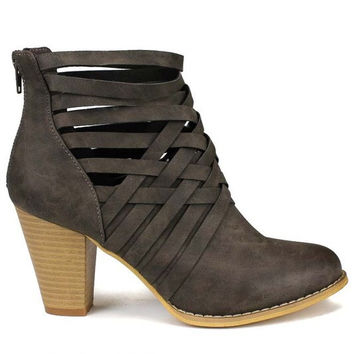 Strappy Booties - Dark Gray