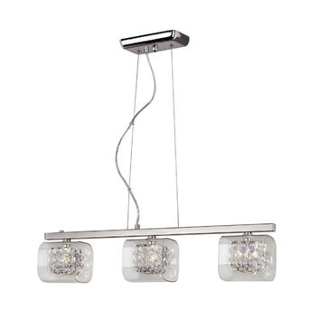 Trans Globe Lighting MDN-1111 Polished Chrome Glassed Cube Three Light Island Pendant with Clear Glass and Clear Crystal Insets