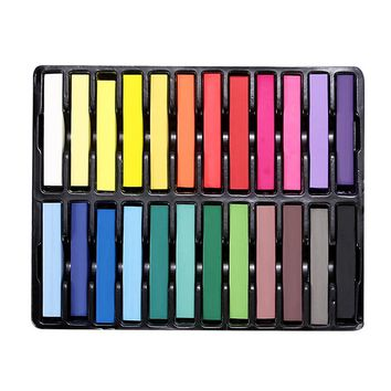 Fashion 24 Colors Pins Non-toxic Temporary Pastel Hair Square Hair Dye Color Chalk Hair Color Tool