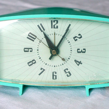 Vintage Aqua Blue Alarm Clock - General Electric GE Telechron