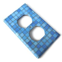 Blue Tiles Outlet Cover Plate, Paper Decoupage, Varnished