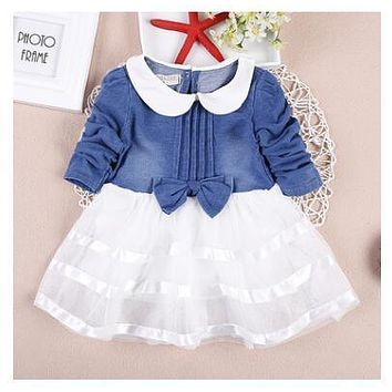 Spring of 2016 children with Korean girls cowboy han edition long-sleeved dress girl children dress