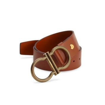 SALVATORE FERRAGAMO Oversized GANCINI Adjustable Belt 32 TAN BROWN $495