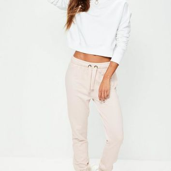 Missguided - Nude As If Slogan Cuffed Joggers