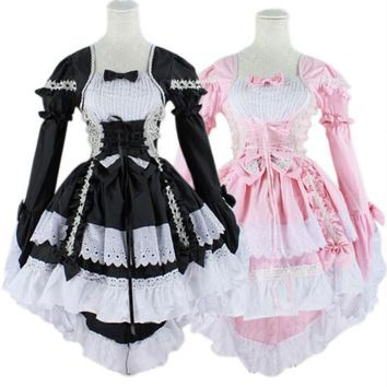 Gothic Lolita Dress Women Sweet Maid Cosplay Costume Anime Halloween Party Ball Gown Vintage Bowknot Dresses