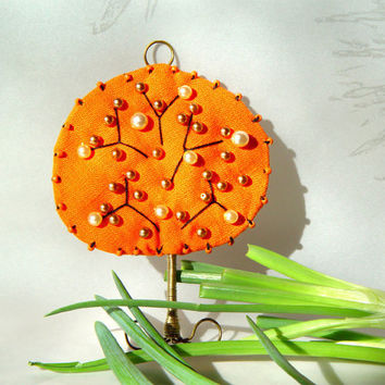 Embroidered quilted tree ornament tangerine by BozenaWojtaszek