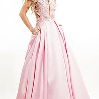 Rachel Allan Sleeveless Open Back Long Prom Dress