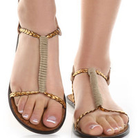 Tan Plait-ful T Strap Flat Sandals - Lulu's
