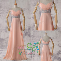 Long evening dress cap beads sleeves chiffon pleated sequins sashes prom dress